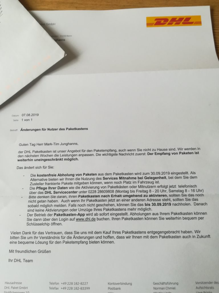 Schreiben von DHL vom 07.08.2019